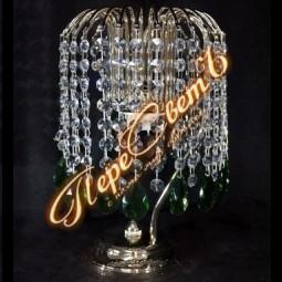 Настольная лампа Каскад Журавлик цветной