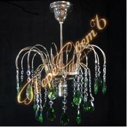 Люстра Каскад Журавль 1 лампа цветной премиум